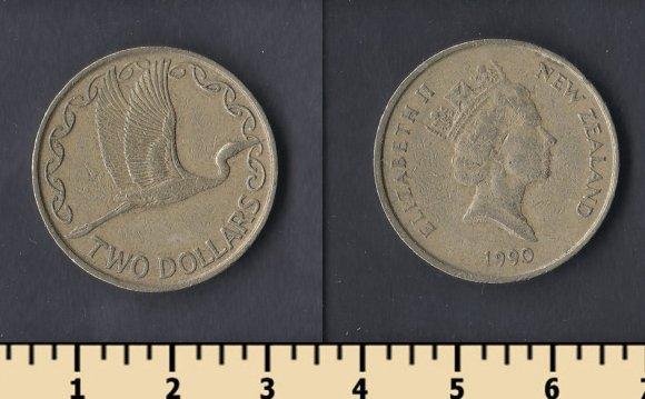 Новая Зеландия 2 доллара 1990