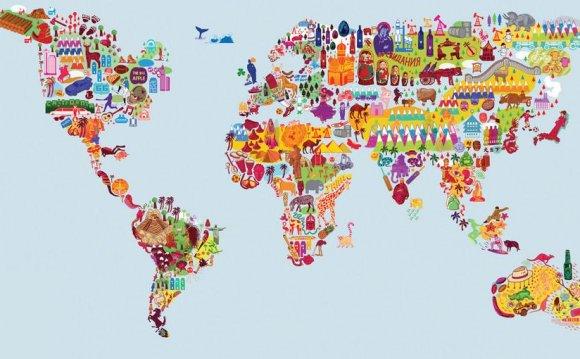 карта мира в виде символов